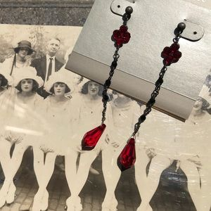 Lori Lori Flapper Inspired Red Drop Earrings